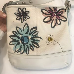 RARE Coach bag with flowers and bumblebee